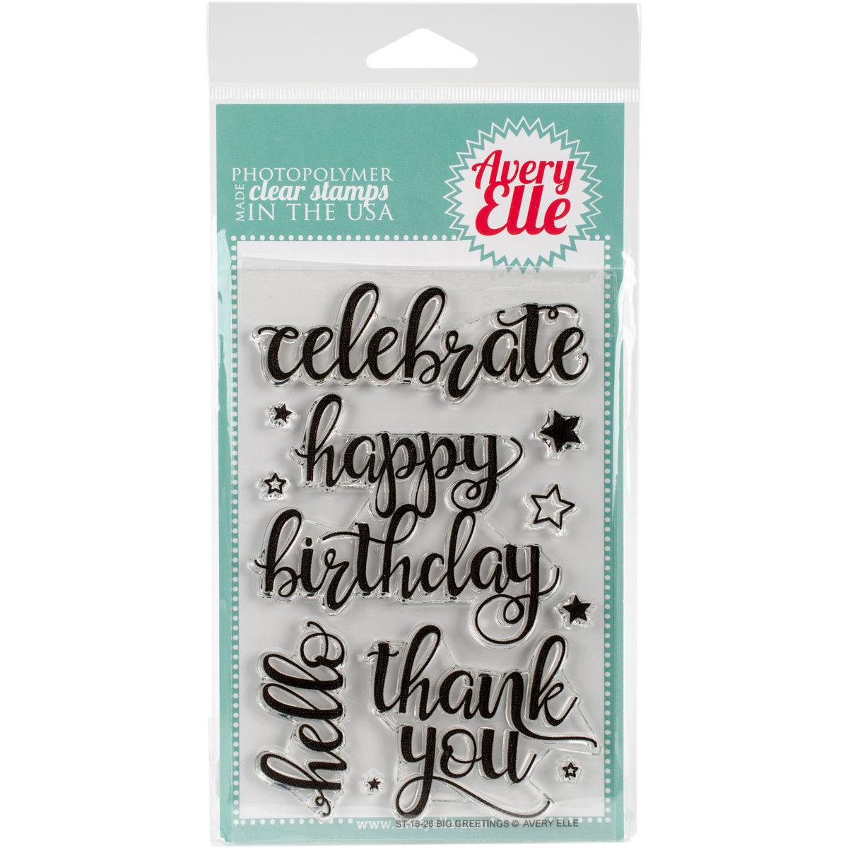 Avery Elle BIG GREETINGS Clear Stamp Set