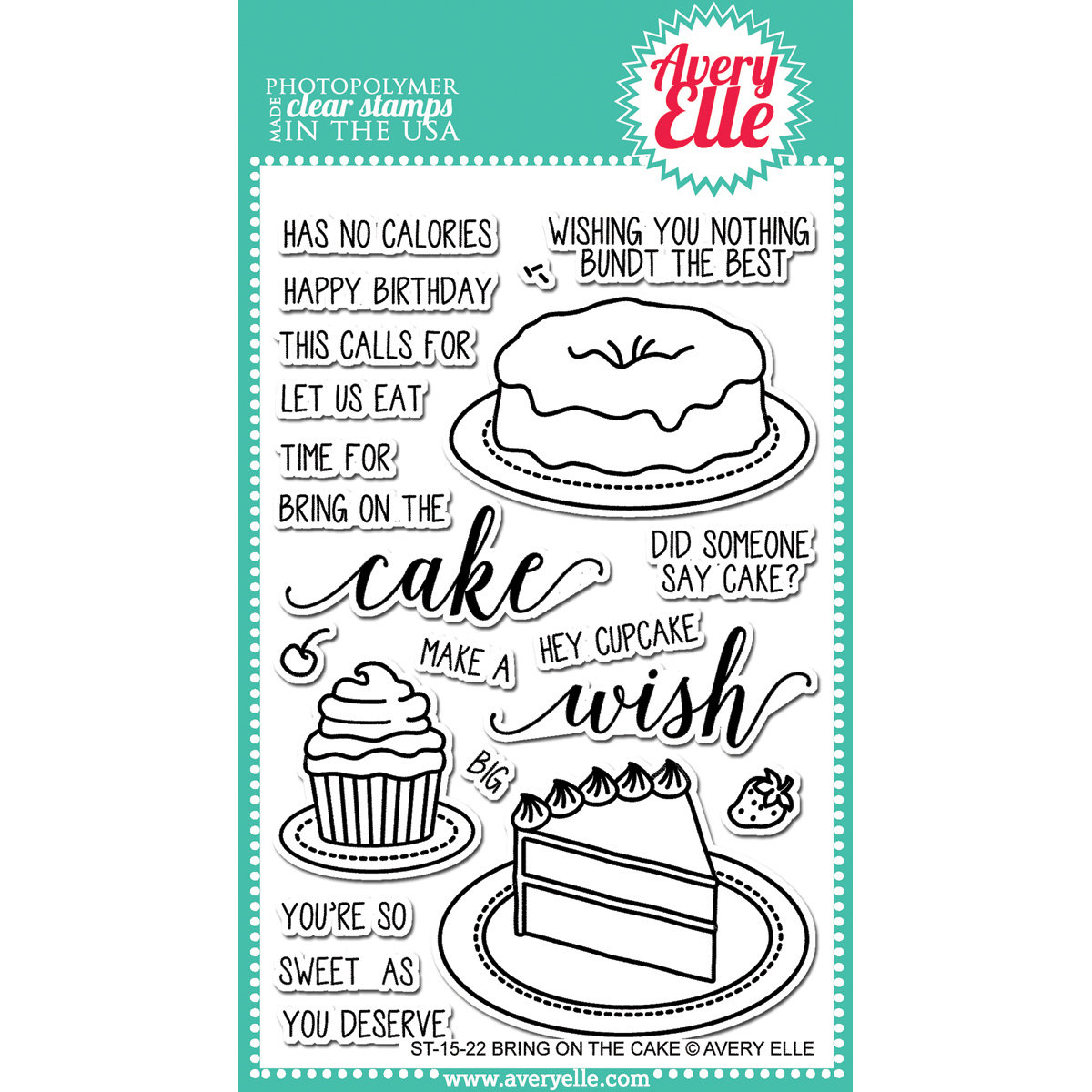 Avery Elle BRING ON THE CAKE Clear Stamp Set