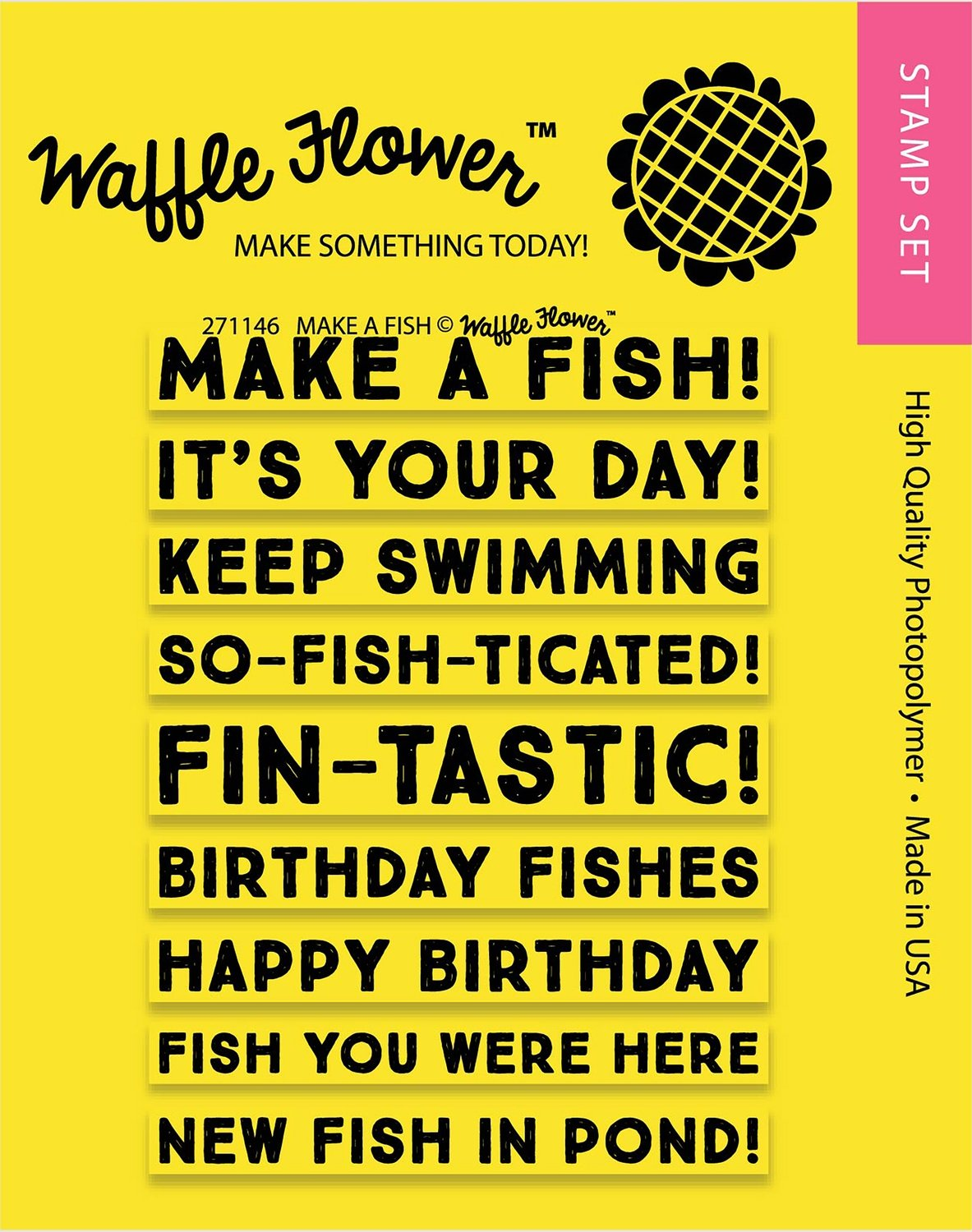Waffle Flower MAKE A FISH Clear Stamp Set