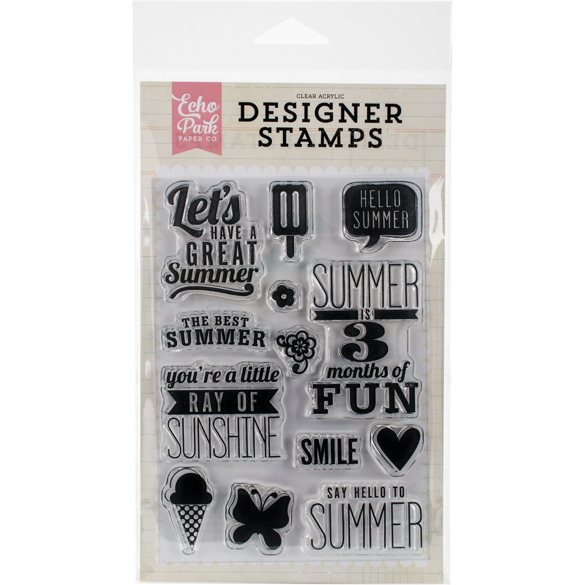 Echo Park RAY OF SUNSHINE Clear Stamp Set