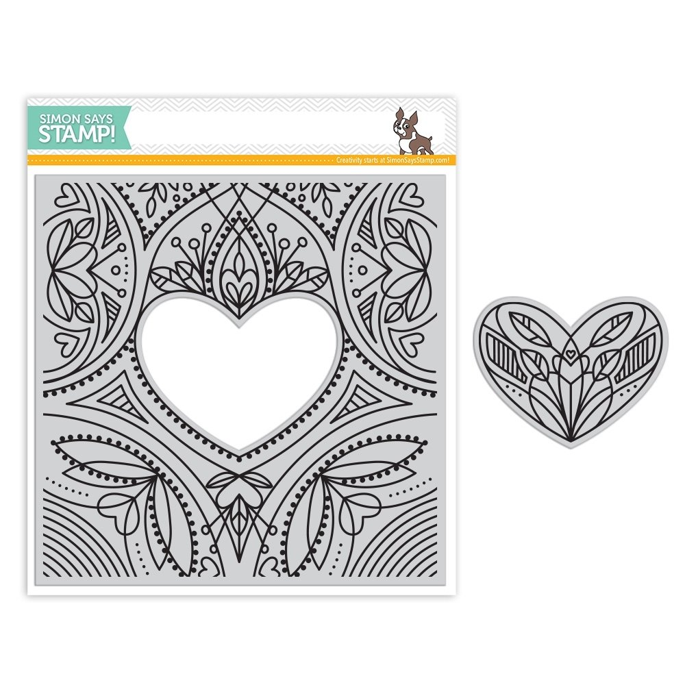 Simon Says Stamp CENTER CUT HEART Background Cling Stamp