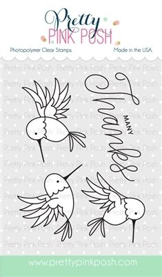 Pretty Pink Posh HUMMINGBIRD THANKS Stamp Set
