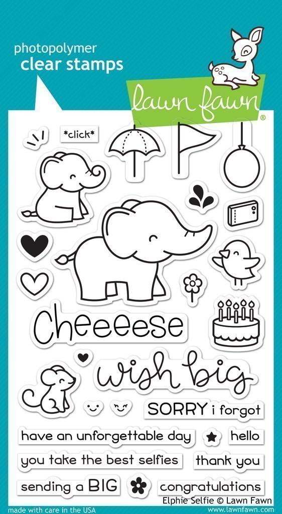 Lawn Fawn ELPHIE SELFIE Clear Stamp Set