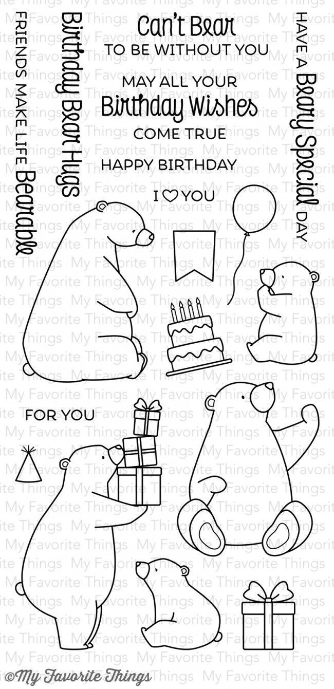 My Favorite Things BIRTHDAY BEAR Clear Stamp Set