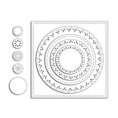 Penny Black STITCHED SQUARE & CIRCLES Die