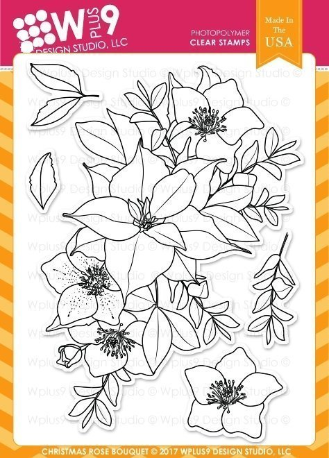 Wplus9 CHRISTMAS ROSE BOUQUET Clear Stamp Set