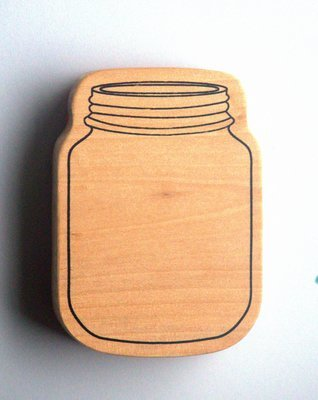 MASON JAR Wood Mounted Rubber Stamp