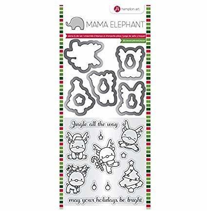 Hampton Art REINDEER FUN Mama Elephant Stamp & Die Set