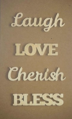 LAUGH LOVE Laser Cut Wood Veneer Words
