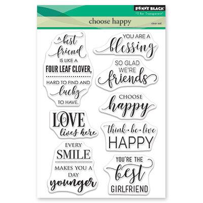Penny Black CHOOSE HAPPY Clear Stamp Set