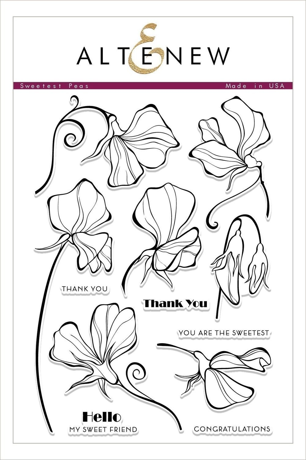 Altenew SWEETEST PEAS Clear Stamp Set