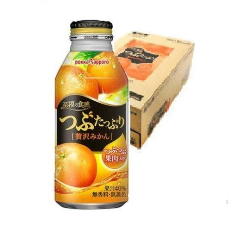 Pokka Sapporo, Tsubutappuri Zeitaku Mikan, Mandarin Orange, 400g x 24 bottles