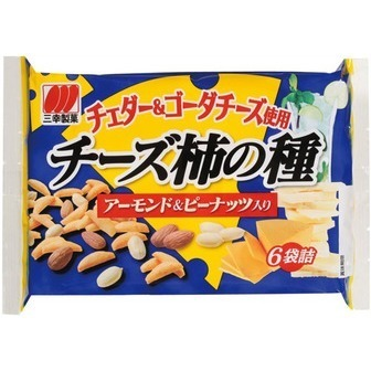 """Sanko """"Cheese Kakinotane"""", Rich Cheese Rice Cracker, 6 pack in 1 bag"""