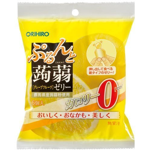 "Orihiro ""Purunto Konnyaku Jelly, Grapefruits flavor"" Konjac Fruits Jelly, 20g x 6 pc"