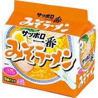 "Sanyo Syokuhin ""Sapporo Ichiban, Miso, Ramen"" 5 packs in 1 bag, 500g"