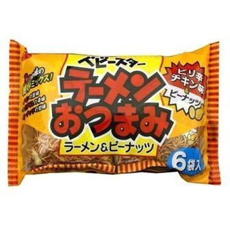 """Oyatsu Company """"Baby Star, Ramen Otsumami, Spicy Chicken Flavor with Peanuts"""", 150g"""