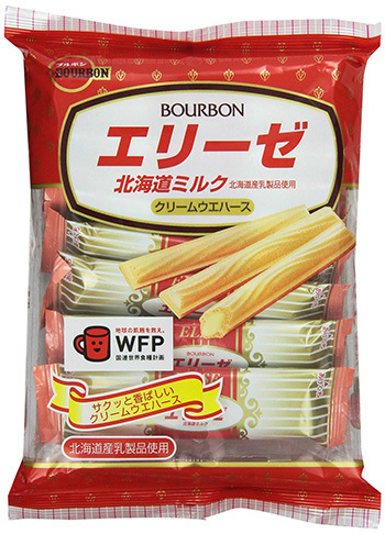 "Bourbon ""ELISE, Milk Cream Wafer"" Crepe cookies, 18 bars in 1 pack, 65g"
