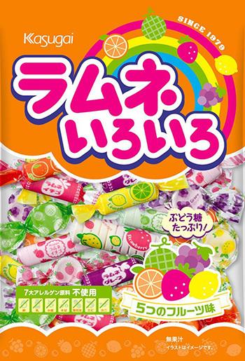 "Kasugai ""Ramune Iro Iro, Sugar Candy, 5 Fruits Flavor"" 102g"