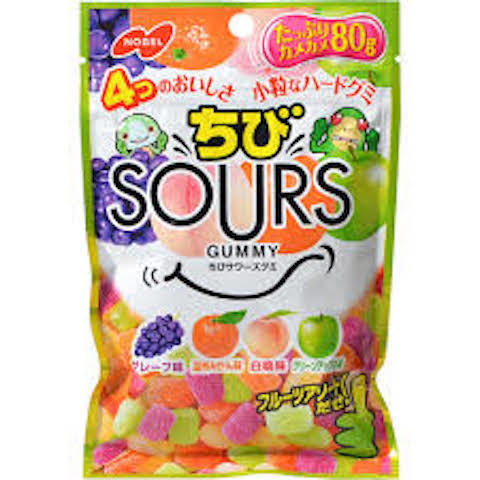 "Nobel ""Chibi Sours gummy"", Fruits Assort, 80g"