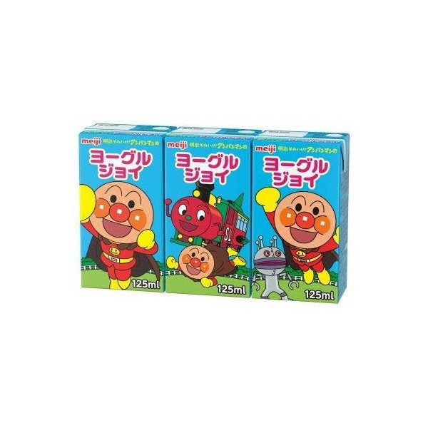 Meiji, Anpanman Drink Series, Yogurt Joy, Yogurt Flavor Lactic Drink, 125ml x 3,