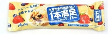 "Asahi ""Asahi "" Ippon manzoku bar"" Cereal bar, White Chocolate"