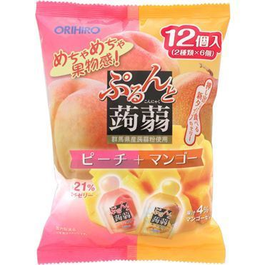 "Orihiro ""Purunto Konnyaku Jelly, Peach and Mango flavor"" Konjac Fruits Jelly, 20g x 12 pc"