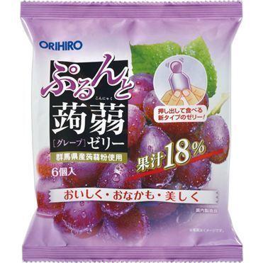"Orihiro ""Purunto Konnyaku Jelly, Grape flavor"" Konjac Fruits Jelly, 20g x 6 pc"