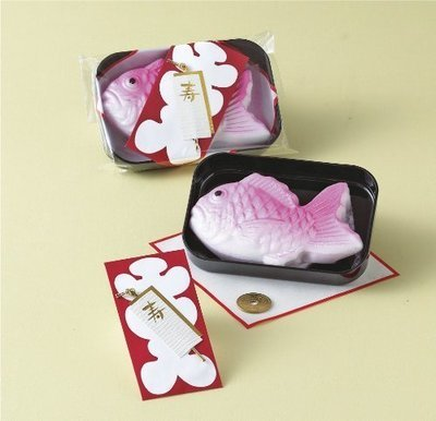 Celebration Packaged Sugar 79g, Fish Shape Bag with 5 JPY Coin