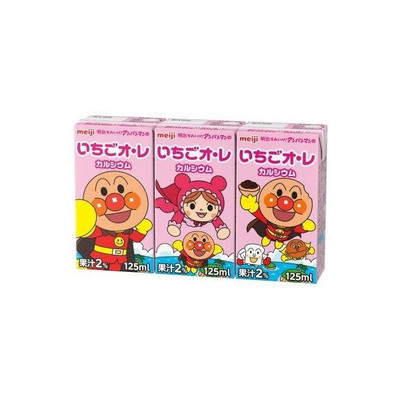 Meiji, Anpanman Drink Series, Strawberry Au Lait, Milk Drink, 125ml x 3,