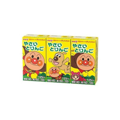 Meiji, Anpanman Drink Series, Vegetable & Fruits Mixed Juice, 125ml x 3,