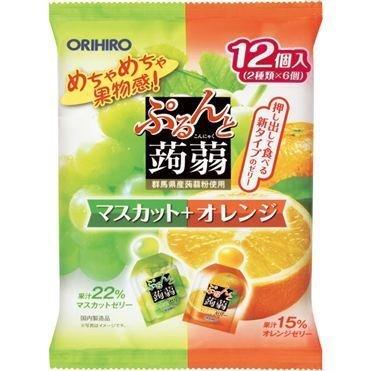 "Orihiro ""Purunto Konnyaku Jelly, Muscat and Orange flavor"" Konjac Fruits Jelly, 20g x 12 pc"