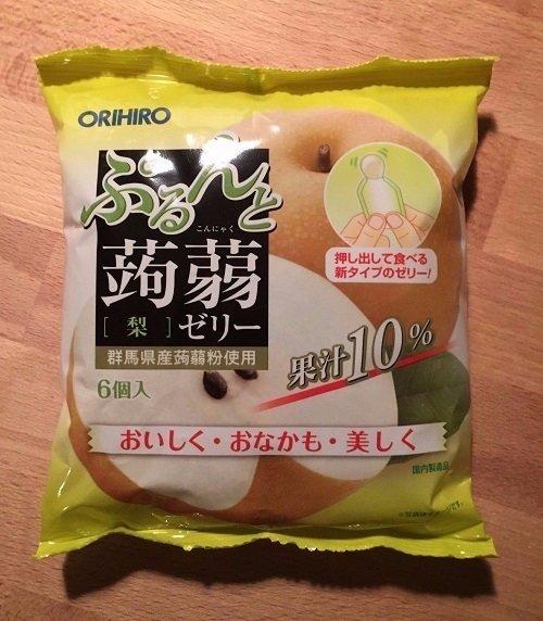 "Orihiro ""Purunto Konnyaku"" Konjac Fruits Jelly  Japanese Pear 20g × 6pc"