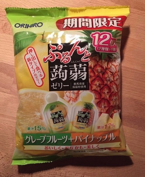"Orihiro ""Purunto Konnyaku"" Konjac Fruits Jelly Grapefruit and Pineapple 20g × 12pc"