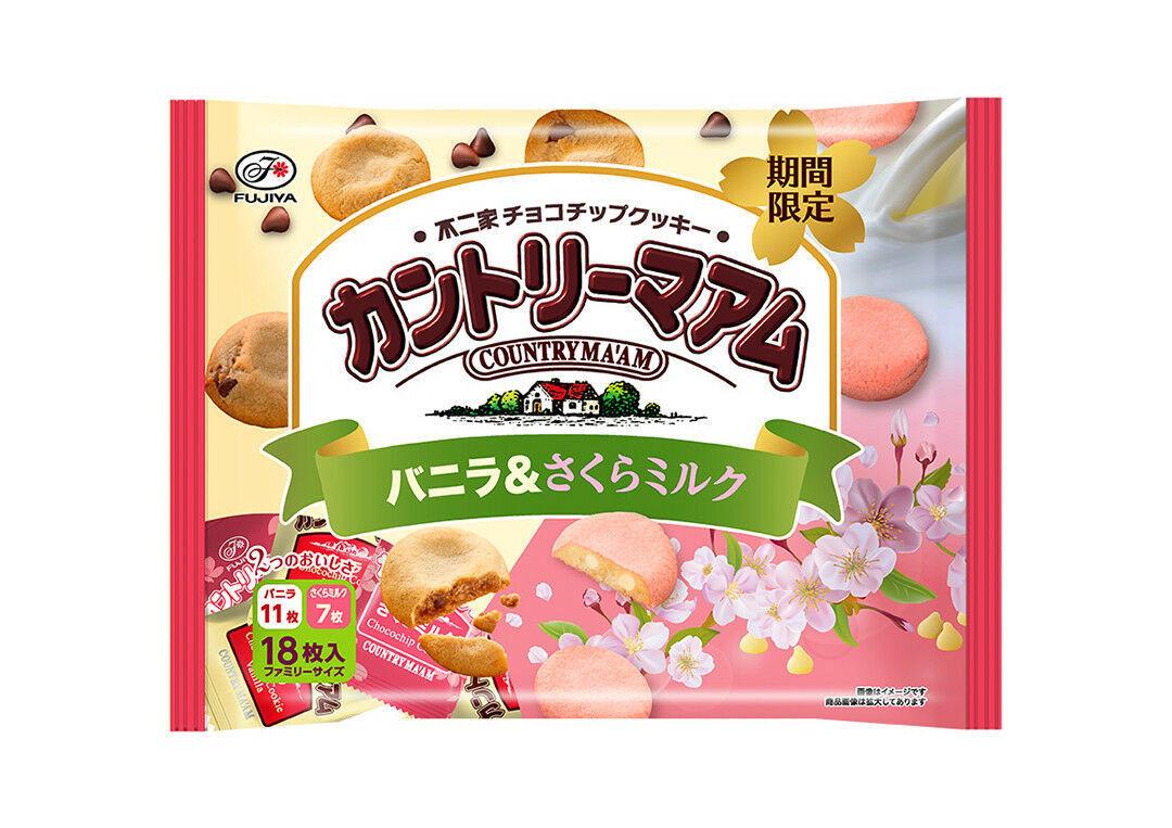 Fujiya, Country Ma'am, Choco Chunk Soft Cookies, Vanilla & Sakura Milk, 18pc