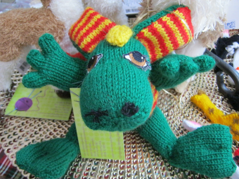 Hand Knit Dragon stuffed animal