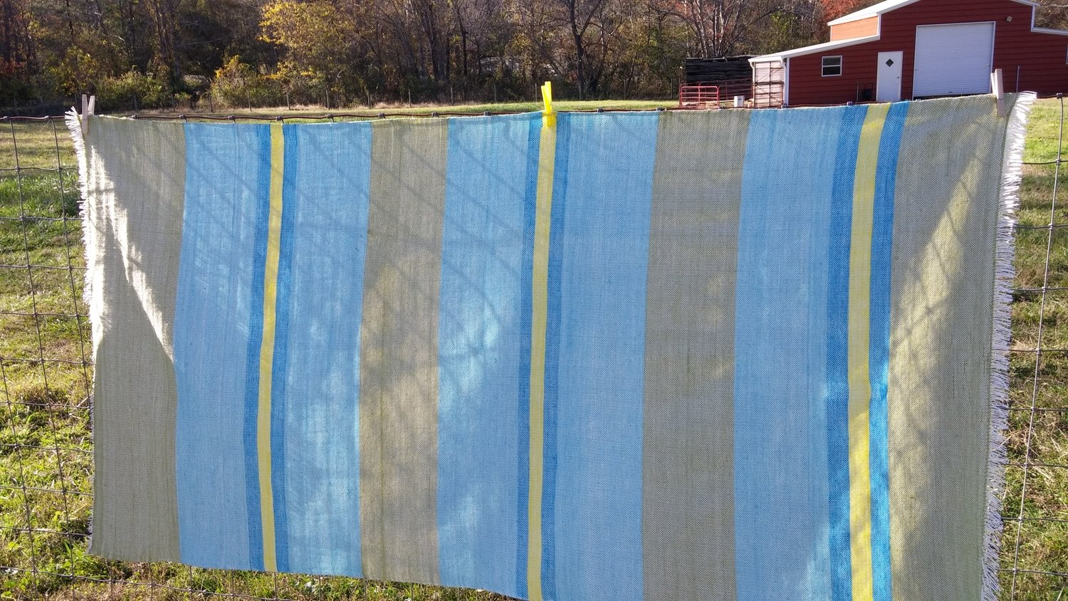 Hand woven Fabric, Blue and Green with stripes