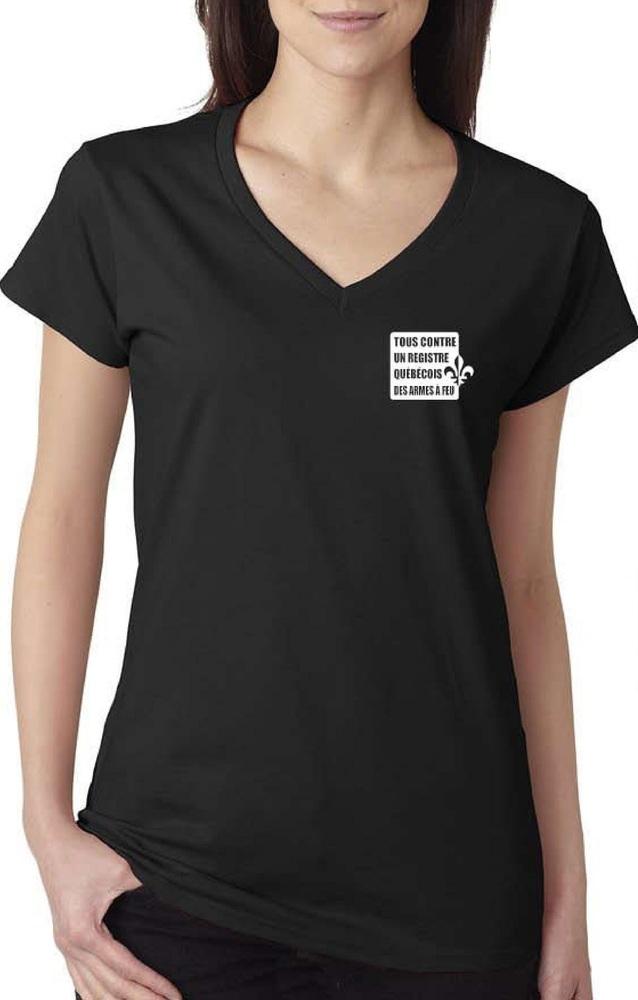 T-shirt à col V - noir fait petit