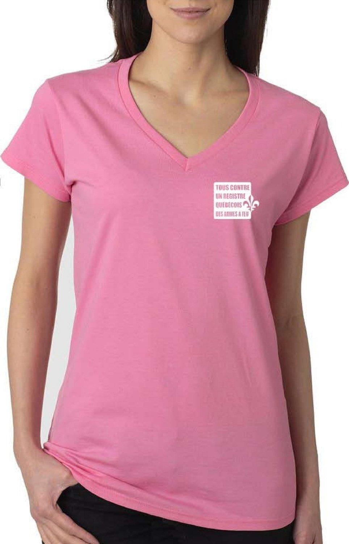 T-shirt à col V - rose