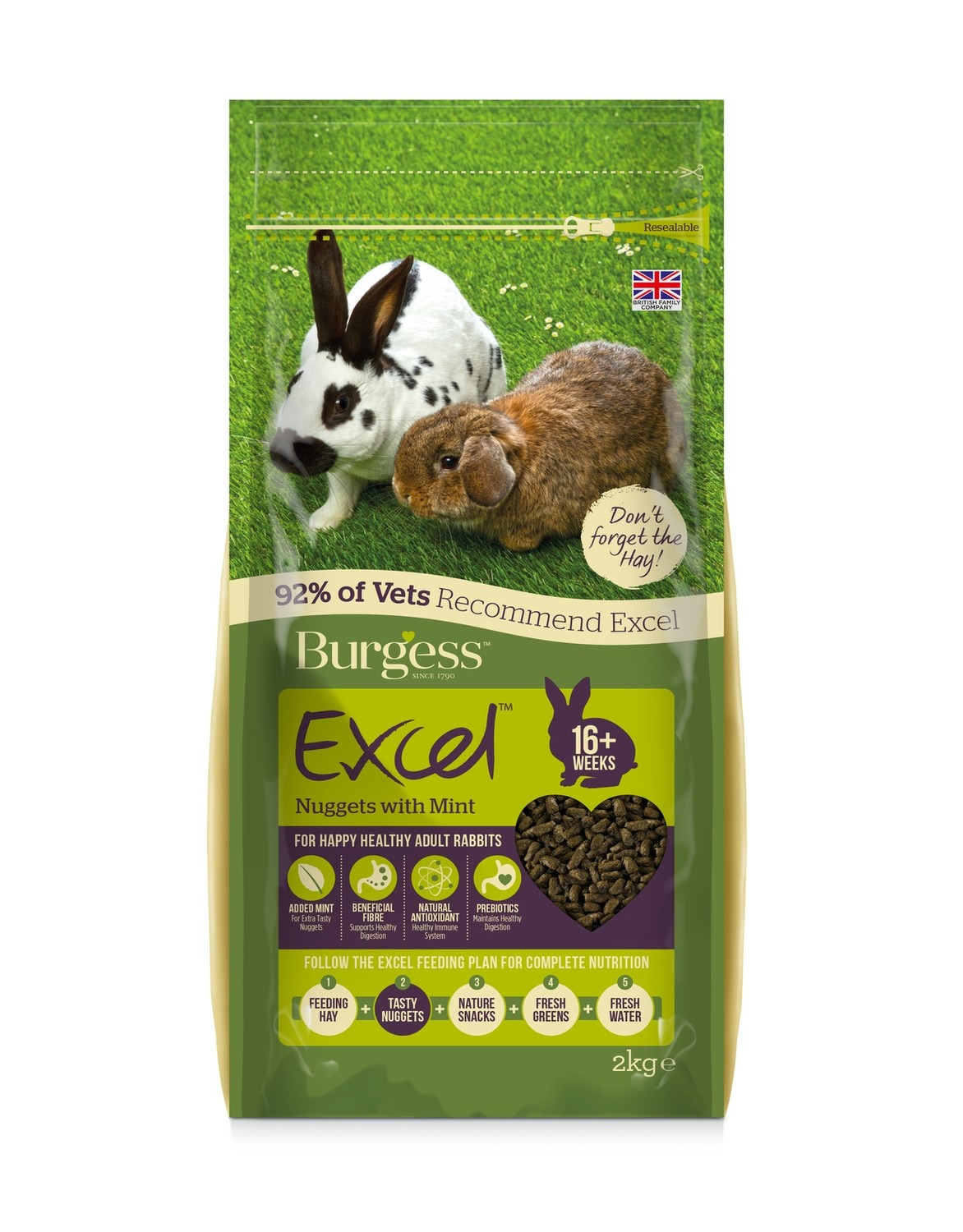 Burgess Excel Rabbit Pellets with Mint 2kg