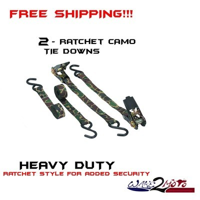 Two - Ratchet Tie Down Strap Camouflage Camo