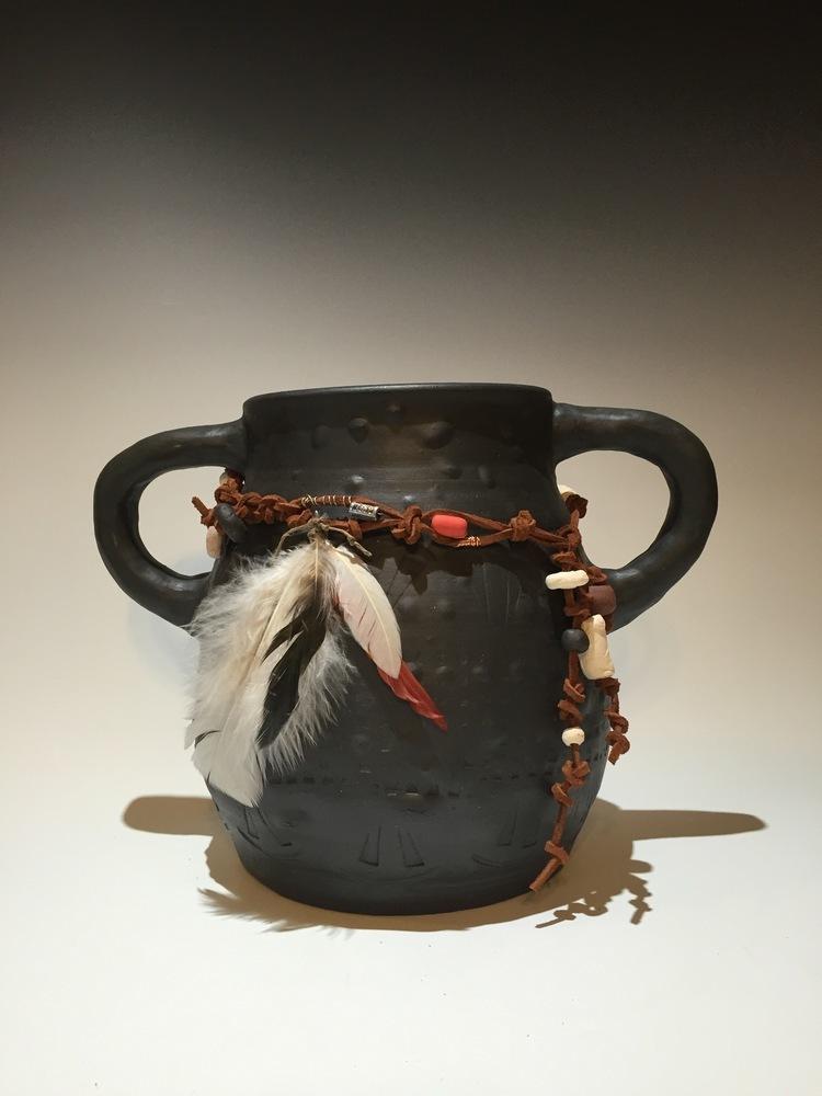 Cherokee Tribal Ceremonial Pot/Black