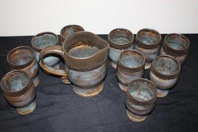 Handmade Wheel Thrown Stoneware Pitcher & Drinkware Set (1 Pitcher, 6 Drinkware)