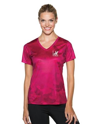 Sport-Tek Ladies CamoHex V-Neck Tee