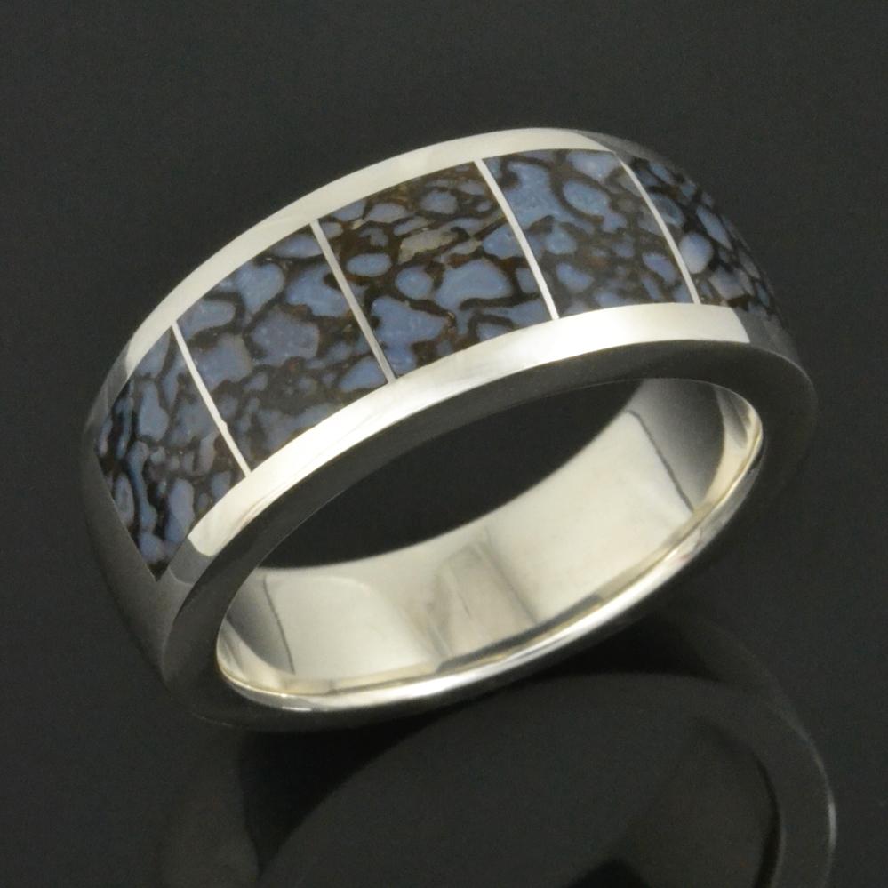 Blue Dinosaur Bone Wedding Ring in Sterling Silver by Hileman Silver
