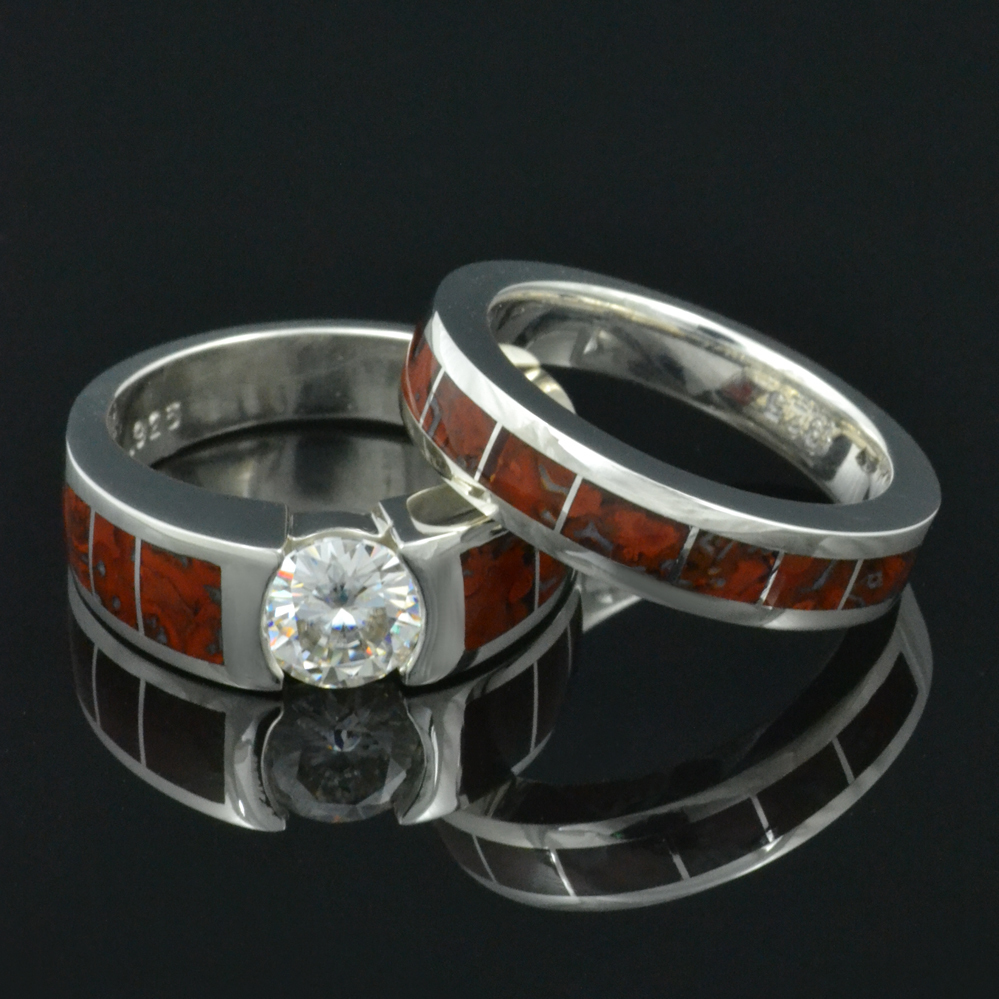 wedding titanium media rings meteorite with dinosaur bone a band ring yellow gold pinstripe