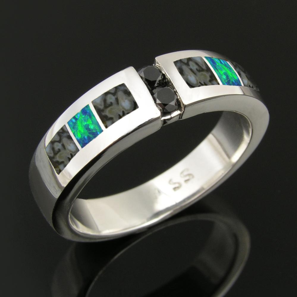 Dinosaur Bone Wedding Ring With Black Diamonds And Lab Created Opal