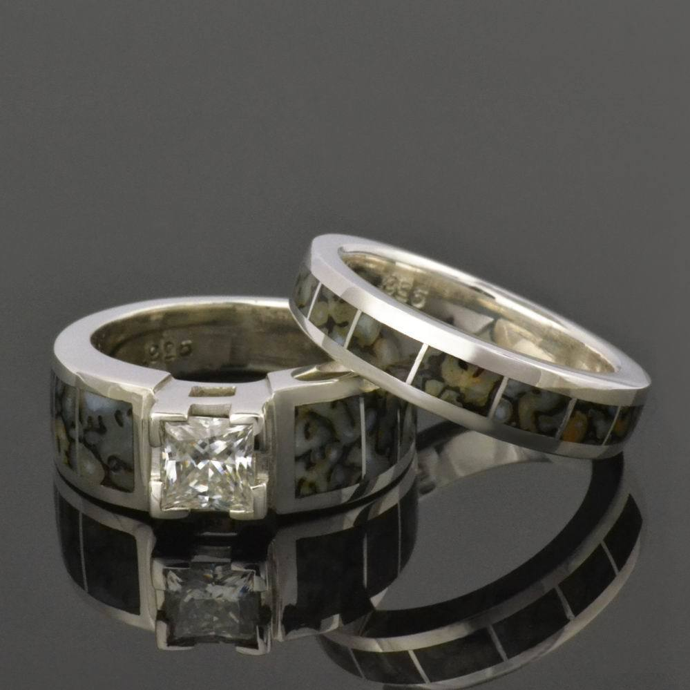 and in sterling set rings dinosaur silver ring band yellow his hers wedding bone meteorite gold
