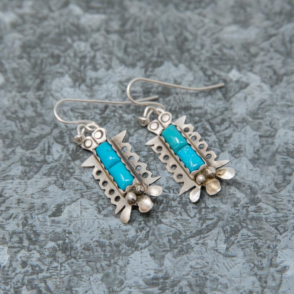 Kingman Turquoise Earrings by Andrew Ruiz JE190024