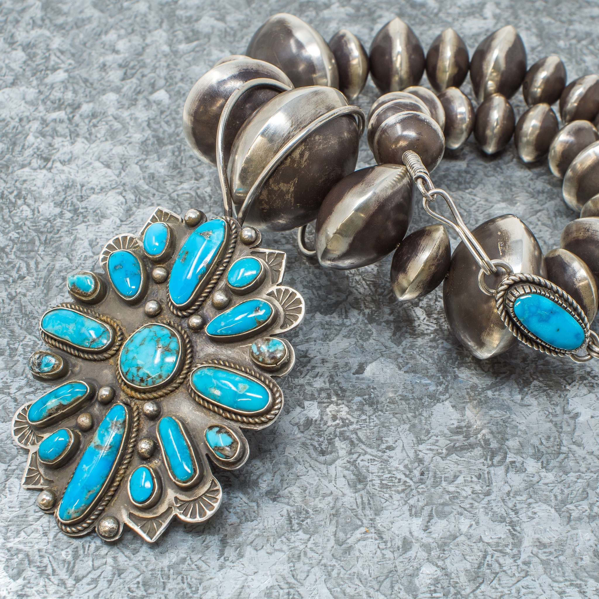 Navajo Pearls & Morenci Turquoise Pendant by Tommy Jackson JE190028