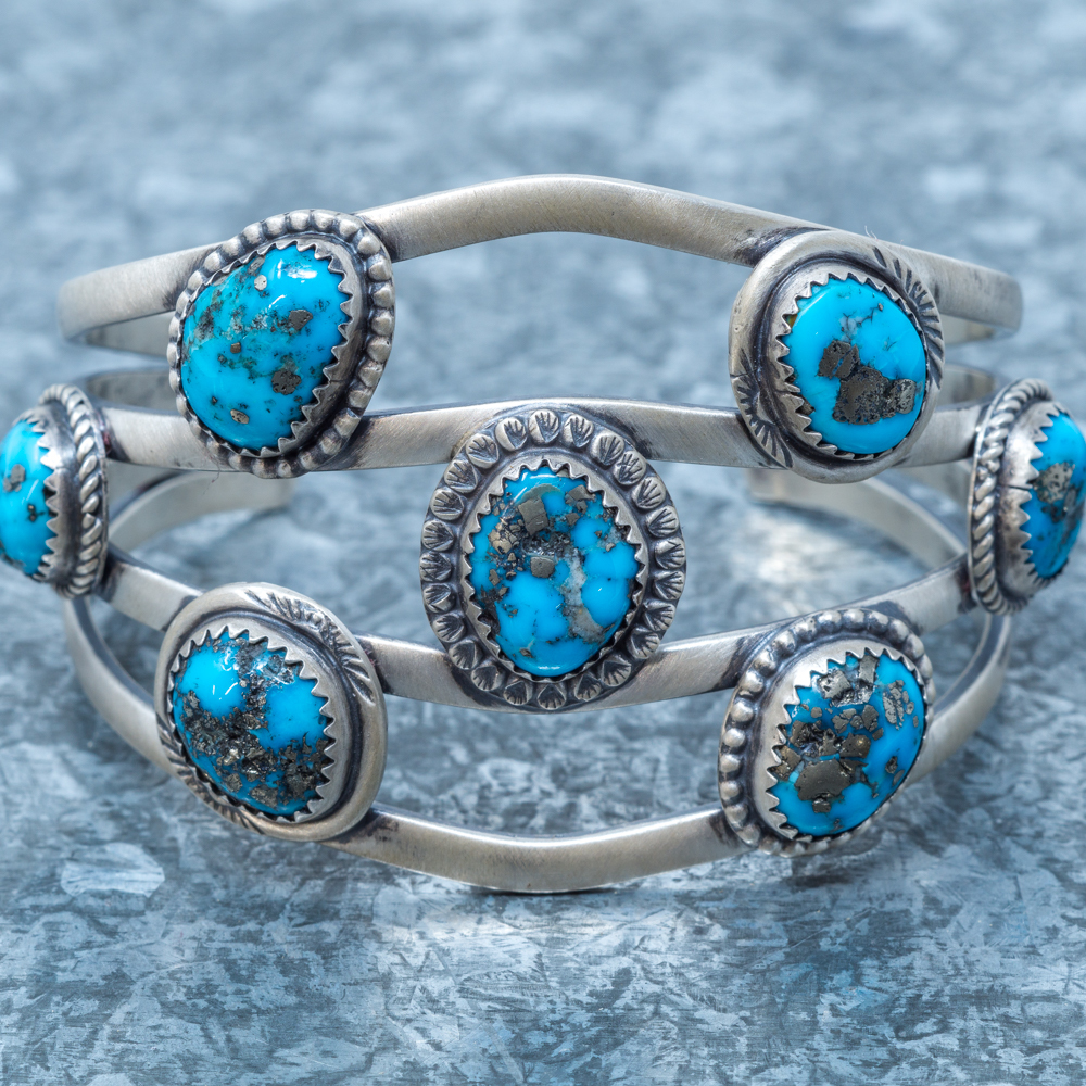 Sleeping Beauty Turquoise Cuff Bracelet by Martha Willeto - Front Close View